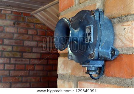 Vintage Soviet air raid siren.At April 19,2016 in Kiev, Ukraine