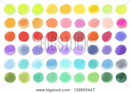 Watercolour marker circle textures. Mega-useful pack for you to drag and drop onto your designs. Vector japan marker design elements bright color