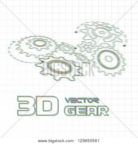 Anaglyphic gears on the light background. Vector illustration.