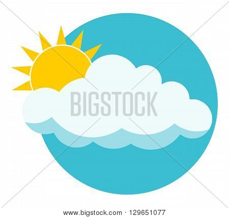 Flat sun behind cloud over blue sky. Sun. Cloud. Icon. Logo. Isolated on white background. Copy space.