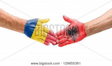 Football Teams - Handshake Between Romania And Albania