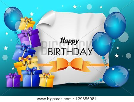 Happy birthday greeting card with balloons and gifts