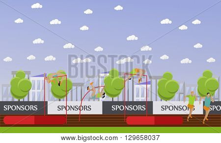 Sport of athletics concept vector illustration. Track and field competition games. Sportsman running, jumping and throwing. Sport venue stadium interior.