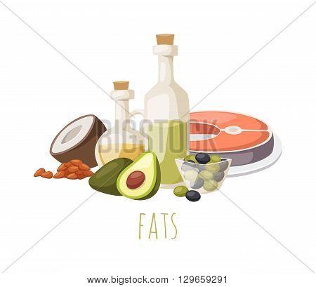 Good fats diet avocado, dry fruits and oil. Fats healthy food vector and good fats food. Fresh diet fats food and green olive fats food nutrition fish raw. Good delicious vegetarian good fats food.