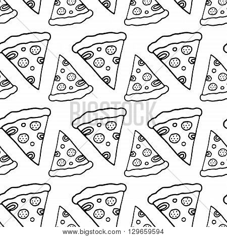 Fabric pizza pattern. Textile pizza pattern. Trendy pizza pattern. Cute pizza pattern. Black and white pizza pattern. Print pizza pattern. Monochrome pizza pattern. Vector pizza pattern. Pizza print.