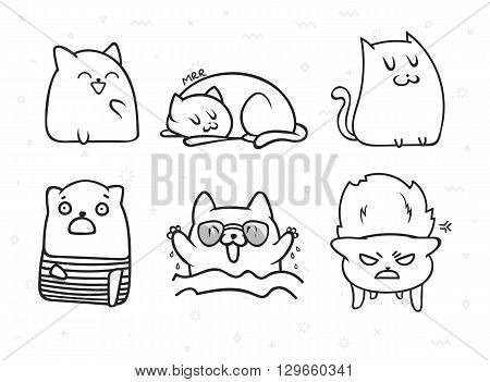 Set of 6 sticker doodle cats with different emotions. Cat handmade. Isolated cat for design. Sleeping cat. Surprised cat. Love cat. Doodle cats. Print cat. Doodle animals. Funny character