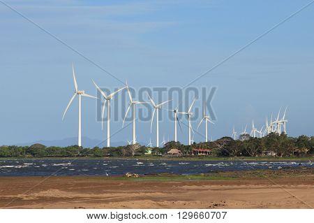 group of wind turbines at the coast of lake Nicaragua