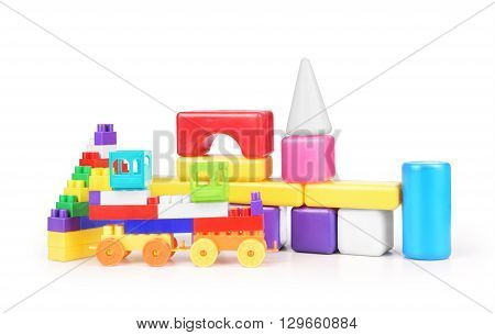 Many toys collection isolated on white background .