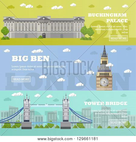 London tourist landmark banners. Vector illustration with London famous buildings. Tower bridge, Big Ben and Buckingham Palace.