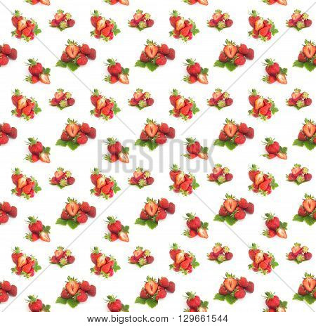 Seamless background with  Fresh strawberries stack on white