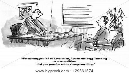 Business cartoon about a boss who is resisting change.