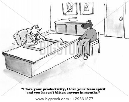 Business cartoon about a positive performance review.