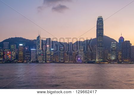 Panorama view of Hongkong island building in twilight time