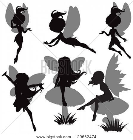 Illustration of fairy silhouette set
