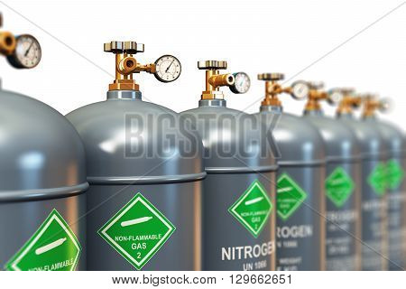 3D render illustration of the group of gray metal steel liquefied compressed natural nitrogen gas containers or cylinders with high pressure gauge meters and valves arranged in row and isolated on white background with selective focus effect