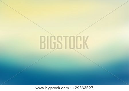Blue and beige blurred background. Colorful defocused scenic background. Soft colored gradient backdrop. Abstract blurry vector illustration