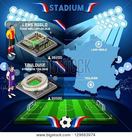 France stadium infographic Stade de Lens Agglo and Toulouse. France stadium Icon. France stadium Jpg Jpeg. France stadium illustration. France stadium vector Eps object.