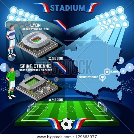 France stadium infographic Stade de Lyon and St Etienne Guichard. France stadium Icon. France stadium Jpg Jpeg. France stadium illustration. France stadium drawing. France stadium vector Eps object.