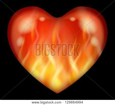 Red and Yellow Flaming Valentine Heart, Fire Love Symbol, Isolated on Black Background. Eps10, Contains Transparencies. Vector