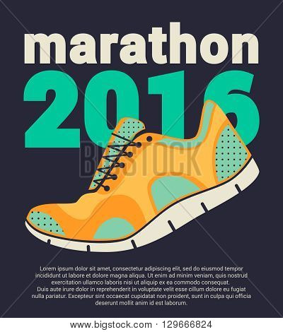 Marathon 2016. Running marathon poster. Colorful poster with running shoes ant text on black background. Flat design. Vector illustration.