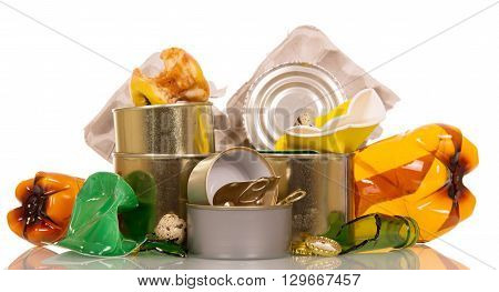 Household waste, trash isolated on white background