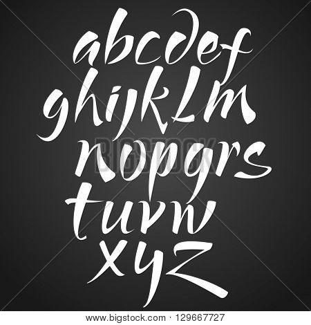 Vector Hand Drawn Alphabet. Brush Painted Letters