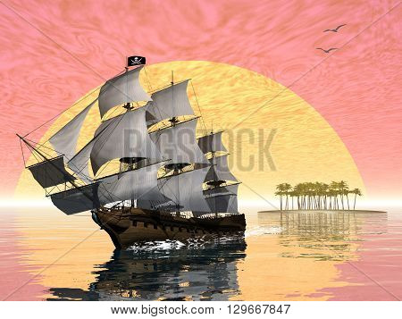 Pirate ship leaving the island by sunset - 3D render