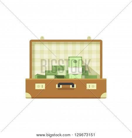 Leather suitcase open full of money vector illustration isolated on white background, suitcase money concept, suit case open, suitcase cash flat icon cartoon design