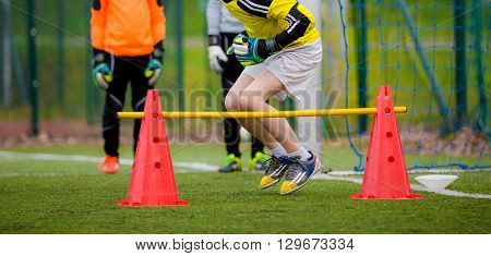 Youth soccer goalkeeper training session before final game