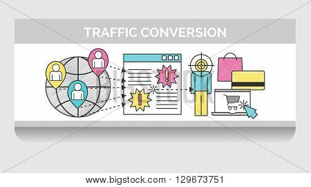 Scribble header horizontal banner illustration for web traffic targeting and conversion. Icon illustrations for global network traffic landing page and a visitor that converted into purchase.