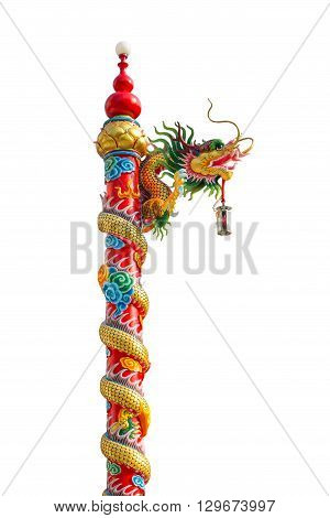 Chinese Golden Dragon Wrapped Around Red Pole, Chinese-style Building In White Background
