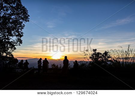 People with trees silhouetted and stunning sunset