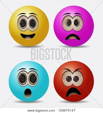 round emoticons sad, angry, suprise and laugh