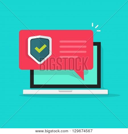 Internet security concept vector illustration isolated on blue, laptop security message bubble speech, shield checkmark icon, privacy, online protection, flat cartoon, antivirus sign, modern design
