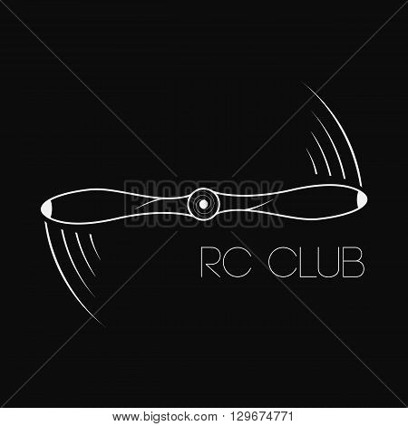 Vector illustration. Icon rotating propeller. Logo propeller. Symbol quadrocopter drone or aircraft. emblem rc club
