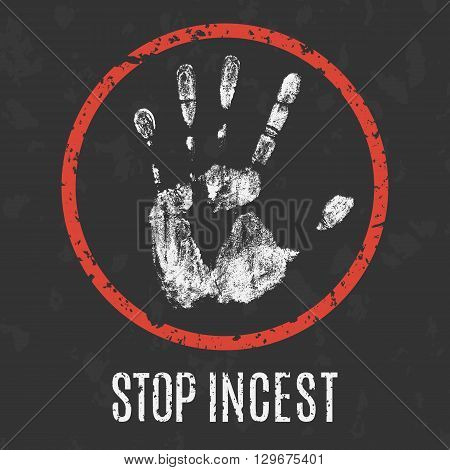 Conceptual vector illustration. Global problems of humanity. stop incest.