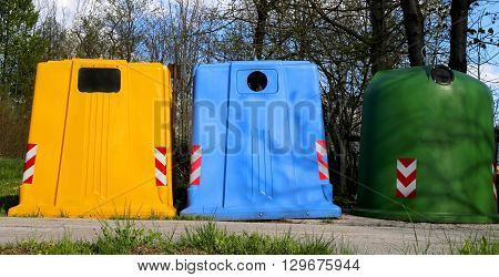 Bins For Waste Paper Collection And For The Collection Of Used Plastic And Glass Bottle