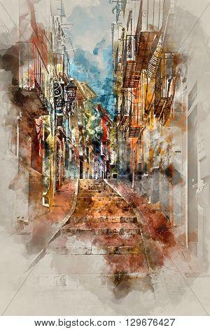 Digital watercolor painting of Villajoyosa town Costa Blanca. Province of Alicante Valencian Community Spain