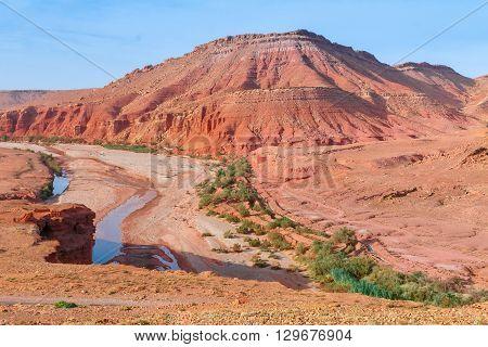 Beautiful landscape of Morocco, Ounila Valley, Tazelefte