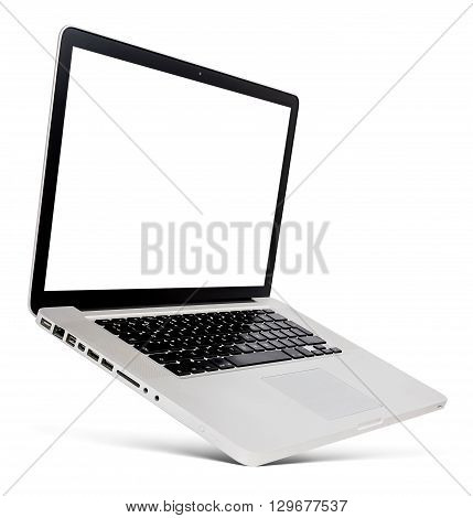 Flying thin aluminium laptop with blank screen isolated on a white background.