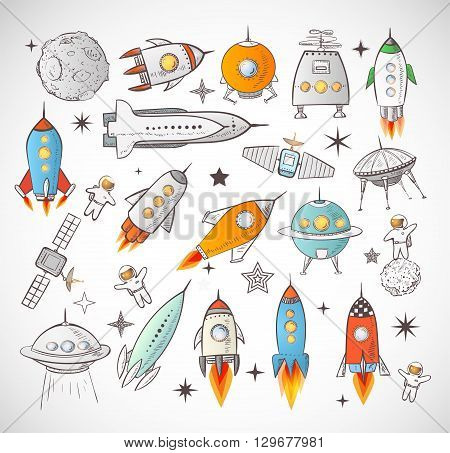 Collection of sketchy space objects isolated on white background. Space ships, space shuttle, flying saucers, astronauts etc.