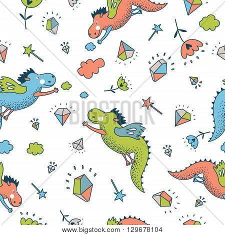 Cute  funny vector  seamless pattern. Cute hand drawn doodle design baby shower cards, brochures, invitations with fanny animals, star, with dragons, dinosaur, diamonds, cloud, rain drops, flowers. Cartoon animals background. Child wallpaper decoration.