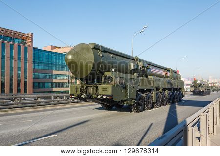 MOSCOW RUSSIA - MAY 09 2016:Russian thermonuclear weapon intercontinental ballistic missile Yars on parade festivities devoted to 71 anniversary of Victory Day on May 9 2016 in Moscow.