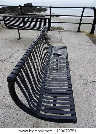 Twin Benches Railed Causeway Photographed At Looe In Cornwall