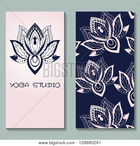 Cards template for yoga studio with lotuses. Yoga vertical vector banner. Business card template for yoga retreat can be used for Hinduism religious organization. vector illustration