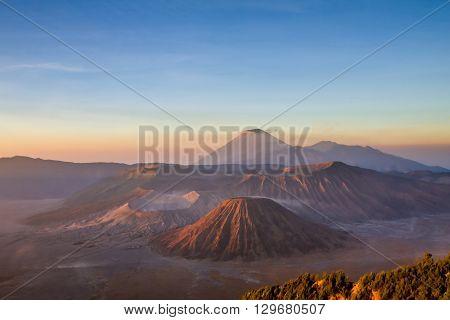 Mountain Bromo during sunset at Java Indonesia