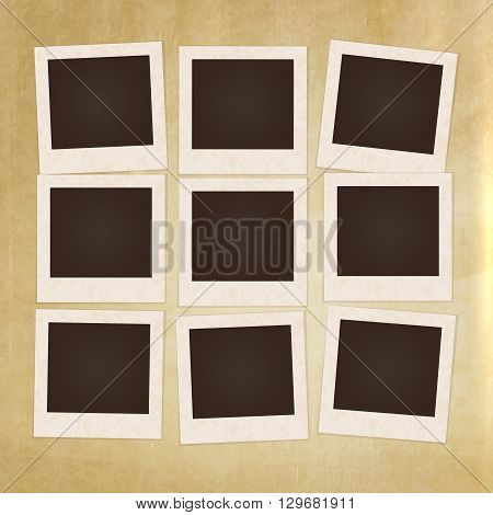 Collage photos frames on vintage background. Album template for kids, family or memories. Scrapbook concept, vector illustration.