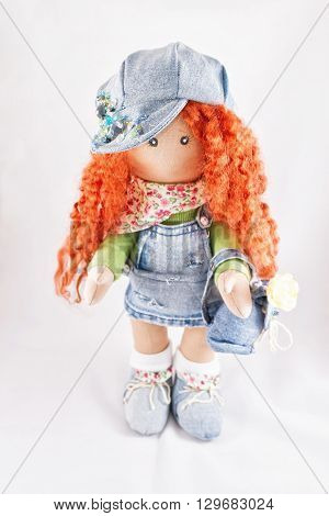 Red-haired Doll Handmade Dressed In Jeans