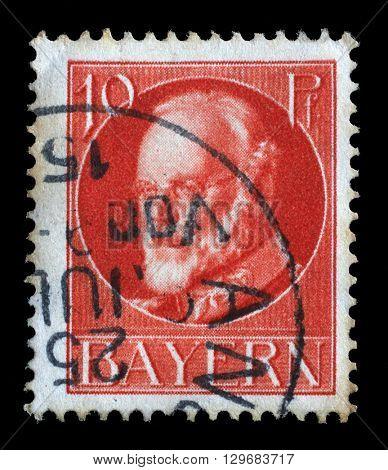 ZAGREB, CROATIA - JUNE 22: Series of stamps of Bavaria, Ludwig III, King of Bavaria (1845-1921), circa 1915, on June 22, 2014, Zagreb, Croatia
