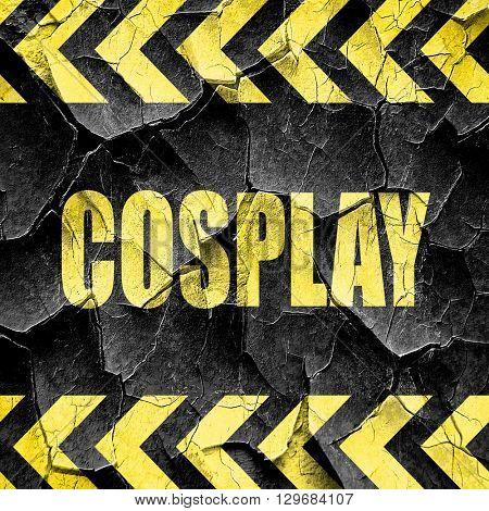Cosplay, black and yellow rough hazard stripes